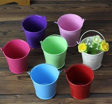 100pcslot tin bucket candy color metal flower bucket flower houaphan laciness bucket iron flower
