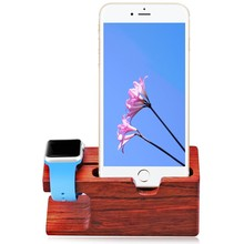 Rose Red Wood Charging Stand Bracket Docking Station Stock Cradle Holder for iPhone 5 6 7 8 X Plus and Apple Watch 38mm 42mm(China)