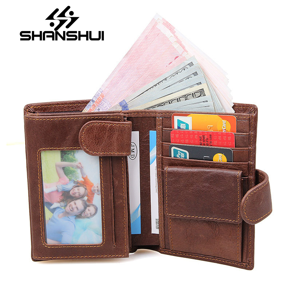SHANSHUI 2017 Europe And The United States Mens Wallet Men Short Section Of The Department Of Leather Money Walnut Wallet<br>