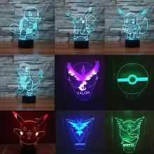 Xmas Bulbasaur Pikachu Squirtle Venusaur Charizard Anime nightlight Pokemon Go Collection 3D Night Light 7Color Change led Gifts