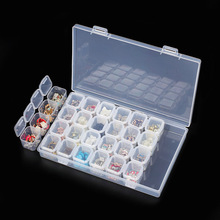 28 Slots Nail Art Storage Box Plastic Transparent  Display Case Organizer Holder For Rhinestone Beads Ring Earrings @LS