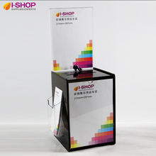 Acrylic Suggestion Box With Header DL+A4 Display Comment Box Donation Box Acrylic Bin With Brochure Holder Smoke YX2-11(China)