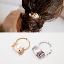 Hot Women Lady Leaf Elastic Hair Band Metal Headband Elastic Hair Ties Rope Ponytail Holder Party Vacation Hairband