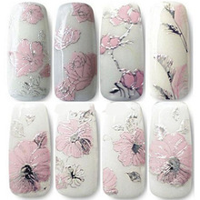 New Elegant 3D Pink Flowers Nail Stickers/High Quality Nail Art Decal Sticker for Women Newest