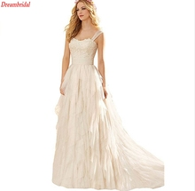 Dreambridal 2017 vestido de noiva One Shoulder High Low Short Front Long Back Beach Wedding Dresses Bride Gowns