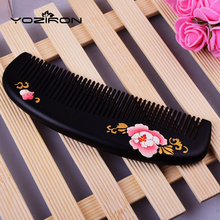 Anti-static gift comb lacquer art hand-painted customizable lettering hair massage combs peach Wooden portable pocket combs Y033