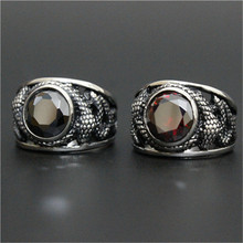 1pc New Design Black Red Huge Crystal Dragon Ring 316L Stainless Steel Man Boy Christmas Flying Dragon Ring(China)