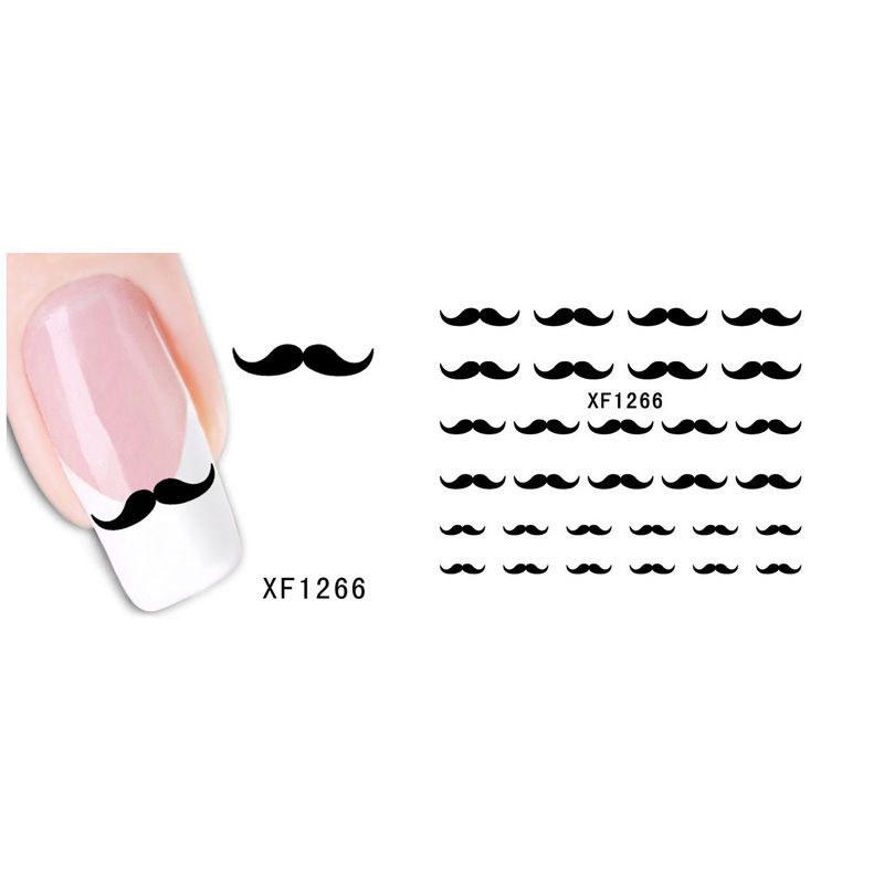 1PCS New Black Beard Cute Nail Stickers Tips Nail Art Decorations Decals Mustache Design Nail Tools Stickers Manicure(China)