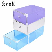 Shoes Wrapped Plastic Storage Box Drawer Type Transparent Plastic Shoes Box Drawer Storage Organizer Stackable Box