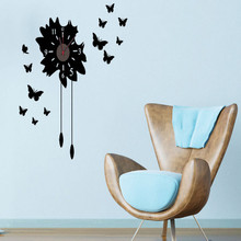 Butterfly wall clock Sticker Bedroom Living Room Home DIY Removable Mural PVC Decal custom removable waterproof