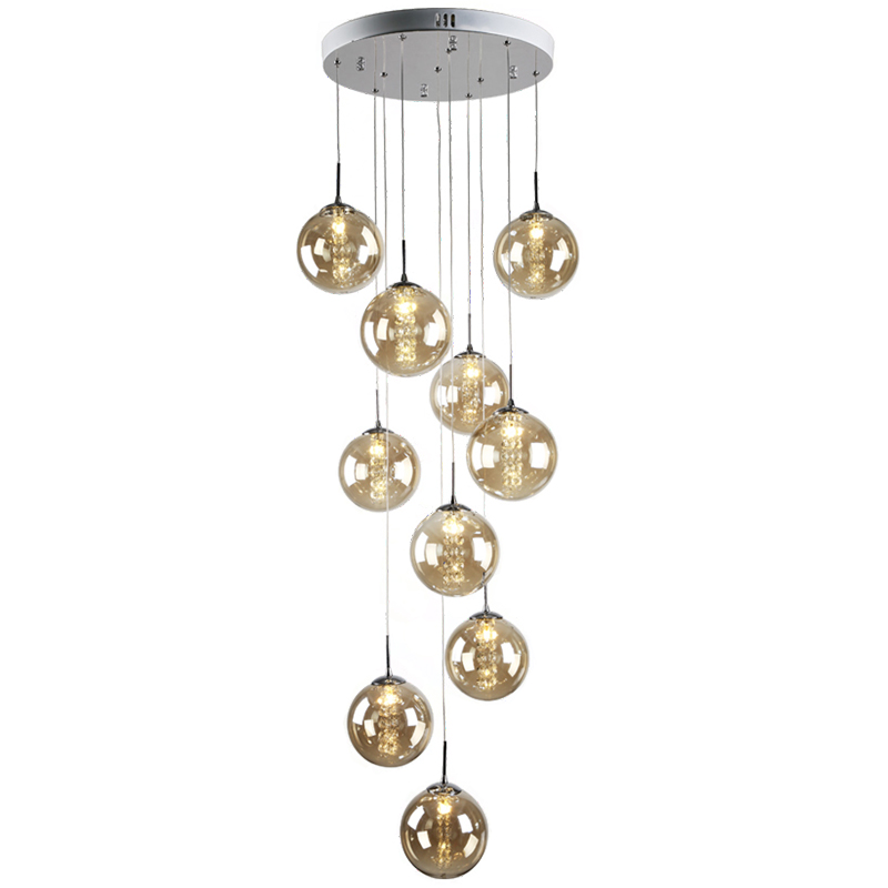 Modern Large Stair Round Ball Lustre Crystal Chandeliers Living Room Glass Globle Hanging Pendant Lamp Light Fixture luminaire<br><br>Aliexpress