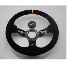 13Inch 330mm Momo steering wheel automobile race steering wheel nubuck steering wheel deep dish black(China)
