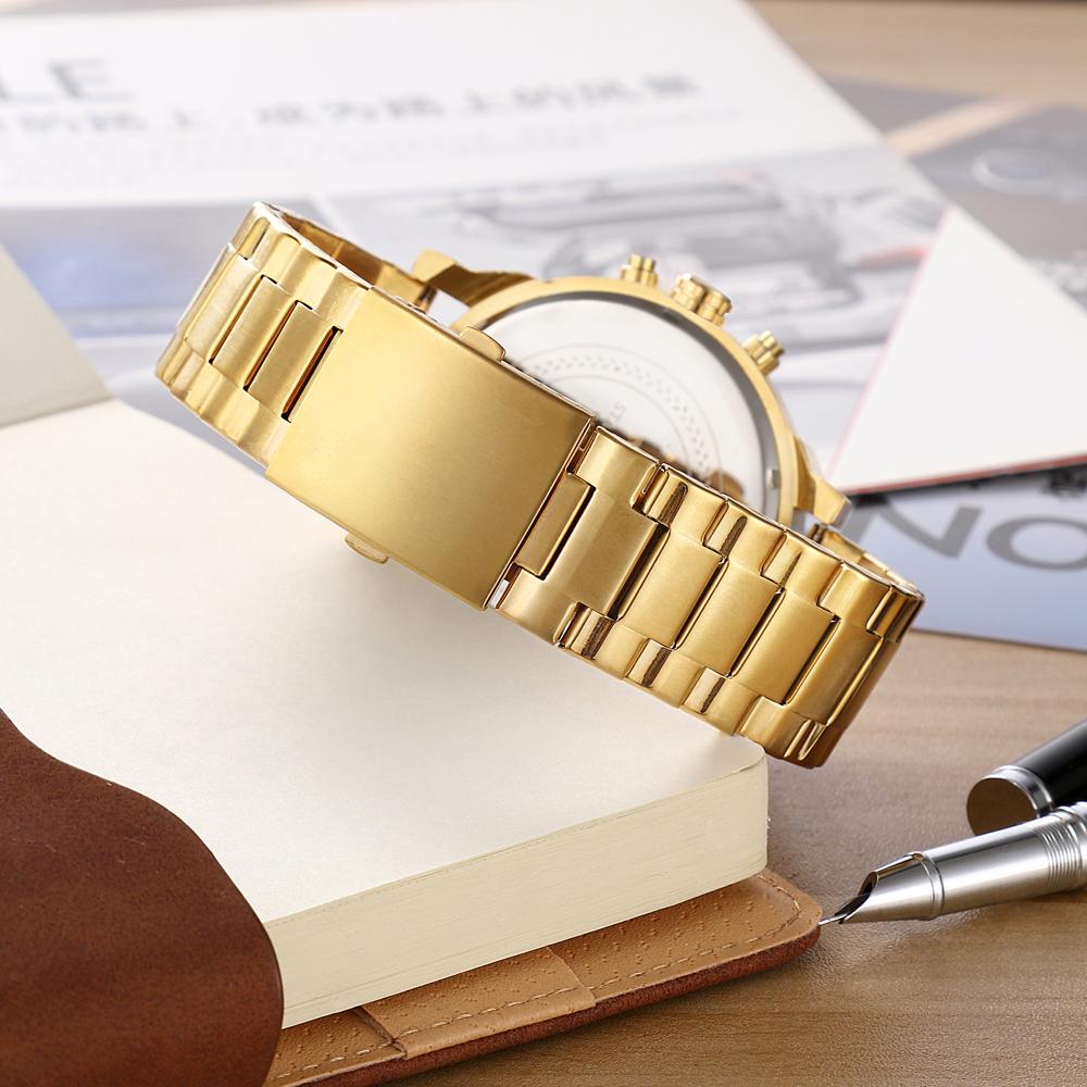 Cagarny Watches Men Fashion Quartz Wristwatches Cool Big Case Golden Steel Watchband Military Relogio Masculino Diesel Style dz6820 (6)