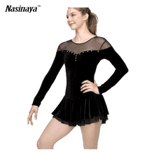 Customized Costume Ice Figure Skating Dress Rhythmic Gymnastics Black Velvet Adult Child Girl Skirt Performance Long Sleeve