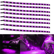Automobiles 8Pcs 15 LED 30cm Car Motor Vehicle Truck Flexible Waterproof Strip Light LED Daytime Running Lights Purple(China)