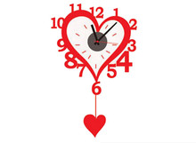 DIY Big Red Heart Wall Clock Sticker Modern Style with 3D Wall Clocks for Kitchen Cafe Home Decoration Wall Clock Wall Sticker(China)