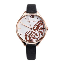 New Arrival Butterfly Women Watches Top Brand Luxury PU Leather Gold Watches Women Fashion Watch 2017 gift Reloj Mujer(China)