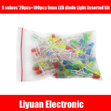 100pcs 5mm LED diode Light Assorted Kit DIY LED Set White Yellow Red Green Blue Mixed Color Light Emitting Diode package