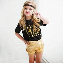 Little Girls Sweet Style Clothing Sets Summer Trendy Kids Baby Girls Cotton Blend Outfit T-shirt Tops Gold Short Pants 2PCS/Set