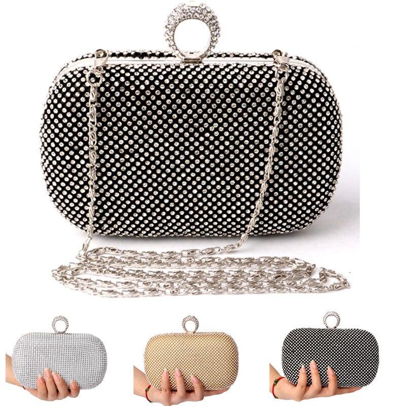 Diamond Rhinestone Evening Clutch Bag Free Shipping  Finger Ring Handbag Purse Evening Wedding Party Bag Silver Black Gold<br><br>Aliexpress