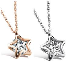 Five star shape design Silver /rose gold Stainless Steel Women Necklace Pendant AAA zircon Charming Holiday Gifts(China)
