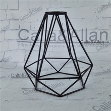 Free shipping M42 hole lamp shade 250mmX210mm large iron diamond cage edison lamp shade DIY black iron house shade for lighting(China)
