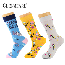 5 Pairs/Lot Men Socks Combed Cotton Brand Spring Fall Plus Size Quality Business Compression Coolmax Pattern Dress Male Socks(China)