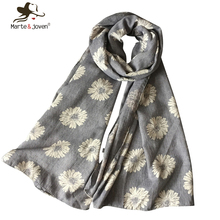 Women Elegant Daisy Flower Printed Scarves Pure Cotton Breathable UV-Protecting Long Shawls Ladies' Fashion Foulard 2015