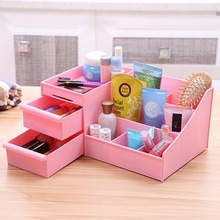 Multifunctional Plastic 7 Slots 2 Storage Drawers Makeup Cosmetics Jewelry Storage Box Case Desk Table Oragnizer Display Rack