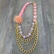 New necklace jewelry women fashion sweet pink flowers necklace wear beads alloy chain a generation to buy(China)