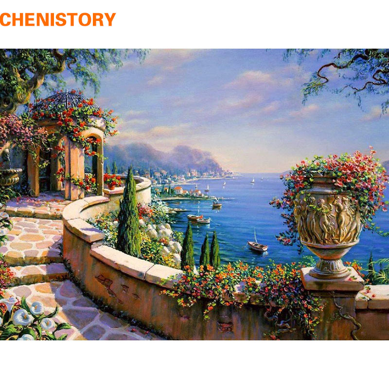 CHENISTORY The Mediterranean Sea Diy Painging By Numbers Kit Coloring Picture Wall Art Canvas Painting Home Decor Artwork 40x50(China (Mainland))