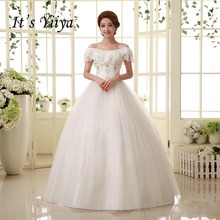 it's yiiya Boat Neck Sequins Wedding Dresses White