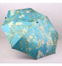 Van Gogh Oil Painting Anti UV Umbrella Rain And Sun Women Fullly Automatic Starry Sky Lady's Three Folding Umbrella