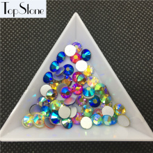 TopStone Mix Colors AB Color ss3-ss30 Round Glass Crystal Flatbacks Nail Art 3D Stones Glue On Non Hotfix Rhinestones