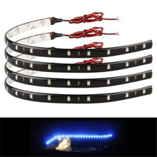 High Quality 4x 15 Blue LED 12V 30Cm Waterproof Car Trucks Motor Grill Flexible Light Strips support for home or automotive use