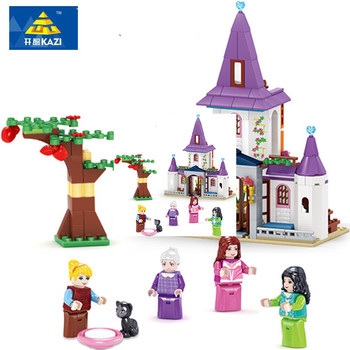 KAZI Jouets Pour Enfant Princesse Château Modèle Blocs de Construction Ville Modèle Building Block Kid Jouet De Noël Cadeaux L'éducation brinquedos