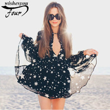 Sexy and Personality Women Dress 2017 New Summer Arrivals Blouse V Collar Hollow Back Star Pattern Dress Female 808C 30(China)