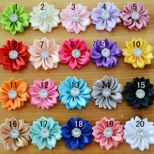 100 pcs/lot , Mini Satin Flowers with Rhinestone Center , Brooch Flower For DIY Headband Accessories