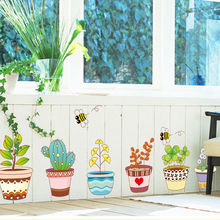 & Garden Home Decor Flowers plant pot baseboard butterfly hand drawing vinyl window wall stickers PVC Christmas wall sticker