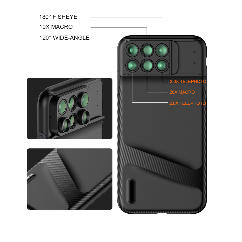 New For iPhone XS Max Dual Camera Lens 6 in 1 Fisheye Wide Angle Macro Lens For iPhone XS XR Xs Max Telescope Zoom Lenses 2