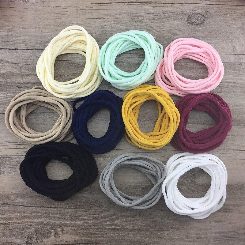 10pcs/lot New style Soft traceless Stretchy thin skinny Nylon Headbands for Girls for infant baby base headband hair accessory<br><br>Aliexpress