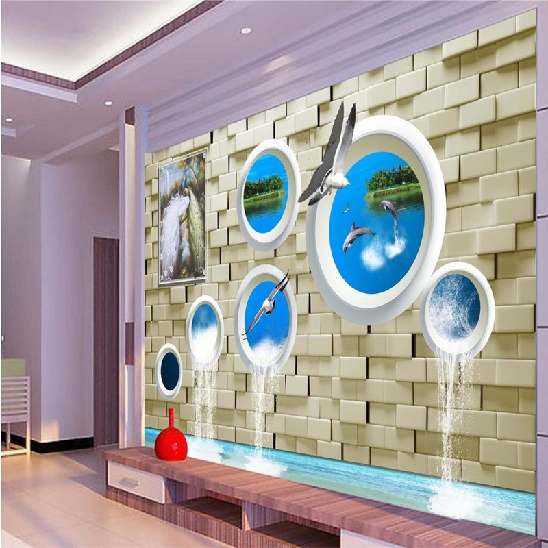 Modern Background Large Painting Peacock bricks Dolphins Murales De Pared 3d Wallpaper Hotel Badroom Mural for Living Room<br><br>Aliexpress