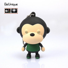Wholesale 10pcs/lot Big mouth monkey LED keychain sound and emit light Paul Idea Gift Car Brooches flashlight frank key fobs