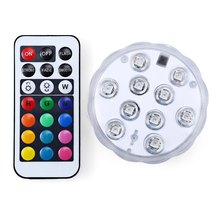 2016 Remote Control Colorful LED Aquarium Diving Light 10 LEDs Waterproof Underwater Electronic Candle Lighting Fish Tank Lamp
