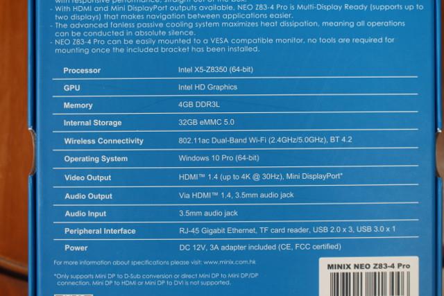 MINIX-NEO-Z83-4-Specifications