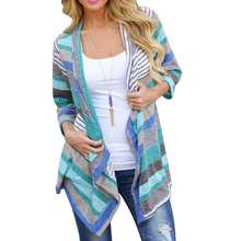 Size S M L XL Boho Long Green Color Striped Length Long Sleeve Cardigan Outwear Knitted Clothes For Women Lady Female