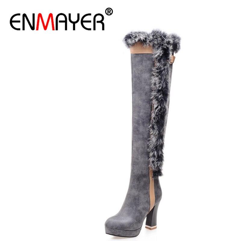 ENMAYER Winter Women Boots Over the Knee Boots Fur High Heels Platform Women Shoes High Genuine Leather Women Boots Size 34-43<br><br>Aliexpress
