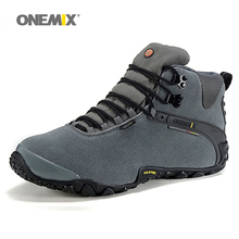 Onemix winter women's hiking shoes wool lining outdoor sport shoes women durable and waterproof climbing shoes anti slip shoes(China)