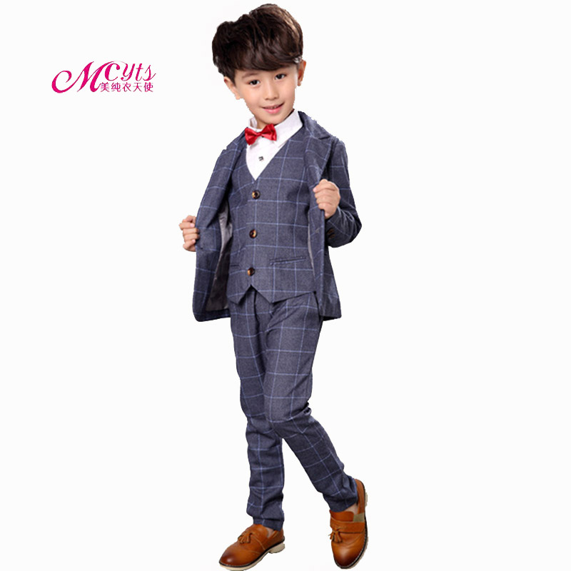 New Boys Kids Suit Blazers Fashion Boy Weddings Prom Suits Wedding Dress 4 Pcs Spring Autumn Children Clothing 2 4 6 8 10 Years<br>