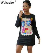 Wuhaobo Latest Design Character Printed Wear Black T shirt Dress Appliques Details Stitching Dress Women 2017 Autumn(China)